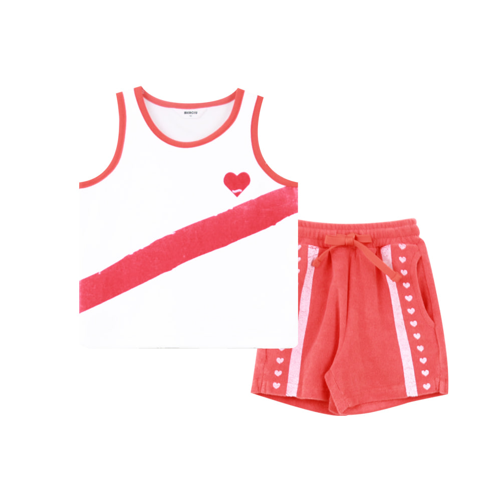Heart sleeveless set - red (2차 입고, 당일발송)