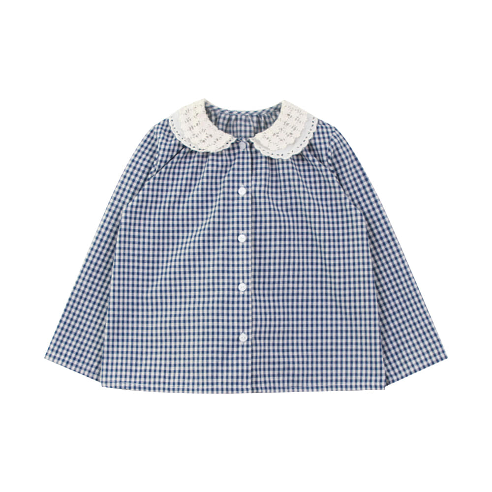 Lace collar check shirt (2차 입고, 당일발송)
