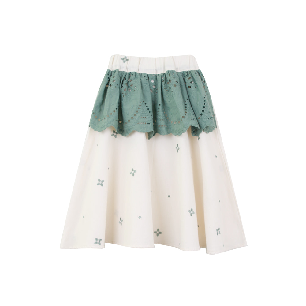 Flower embroidery lace skirt (단품판매, 130 사이즈만 가능)