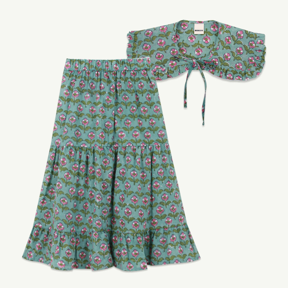 Hand printing frill skirt neck cape set( 당일 발송 )